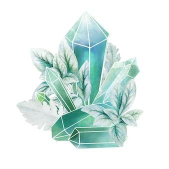 Kristallen edelstenen met blauwe bladeren, decoratieve kunst in volledige kleur, schattige compositie, handgetekende aquarel illustratie