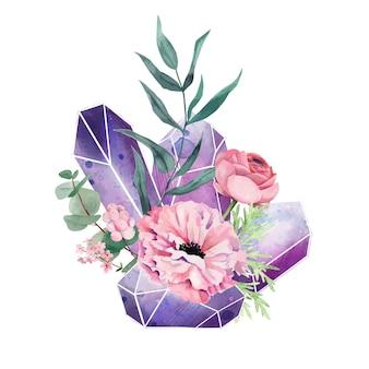 Kristallen edelstenen met bloemen, decoratieve kunst in volledige kleur, schattige compositie, handgetekende aquarel illustratie