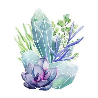 Kristallen edelstenen met vetplanten, decoratieve kunst in kleur, schattige compositie, handgetekende aquarel illustratie