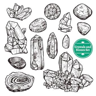Kristallen en stenen gezet