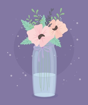 Kristallen fles met bloemen en bladeren decoratie