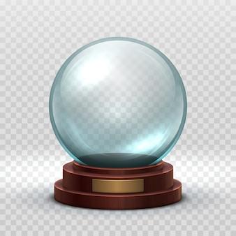 Kristallen glazen lege bal. magische kerstvakantie sneeuwbal geïsoleerd.