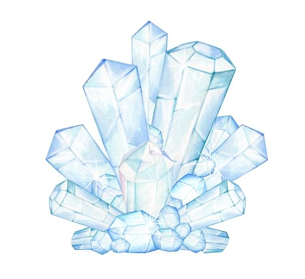 Kristallen, in zachte kleuren, op een geïsoleerde achtergrond. ijskristallen met de hand getekend in aquarellen.