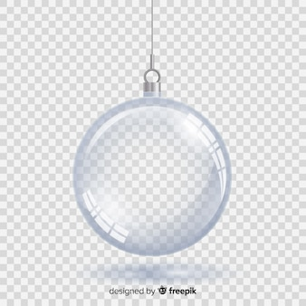 Kristallen kerstbal met transparante achtergrond