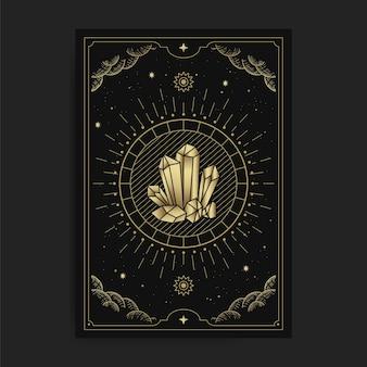 Kristallen rots, steen of edelstenen, in tarotkaarten, versierd met gouden wolken, maan, ruimte en vele sterren