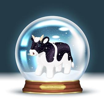 Kristallen sneeuwbol, en binnen het symbool van het nieuwe jaar 2021 - stier. 3d-realistische magische bal met sneeuwvlokken.
