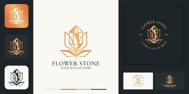 Kristalsteen bloem modern vintage logo ontwerp en visitekaartje Premium Vector