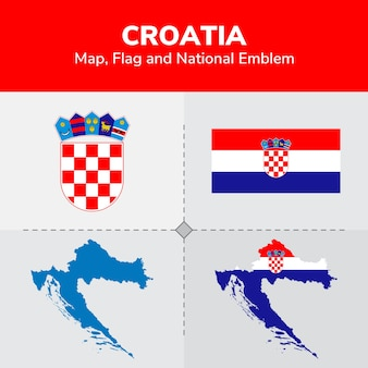 Kroatië kaart, vlag en nationale embleem