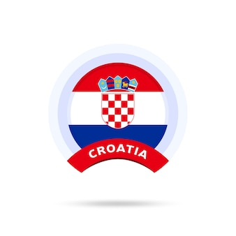 Kroatië nationale vlag cirkel knop pictogram. eenvoudige vlag, officiële kleuren en juiste verhoudingen. platte vectorillustratie.