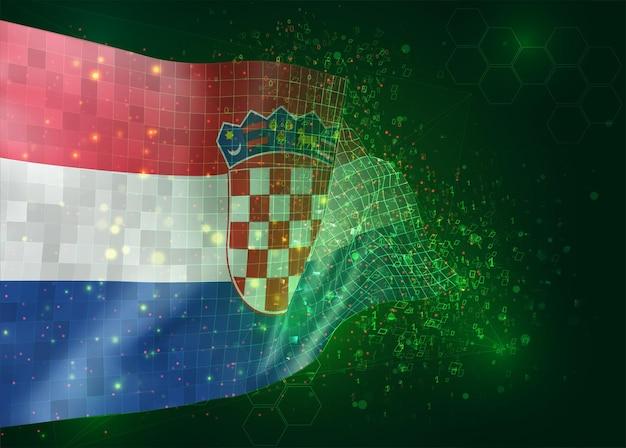 Kroatië, op vector 3d vlag op groene achtergrond met veelhoeken en gegevensnummers