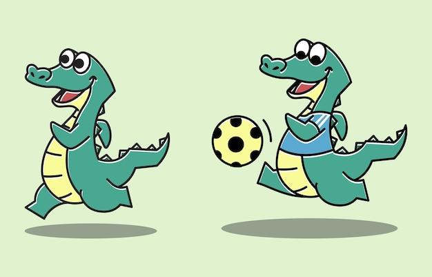 Krokodil alligator voetbal run sport grappig leuk karakter cartoon mascotte