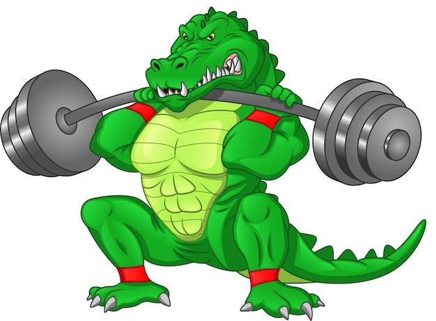 Krokodil cartoon met grote barbell