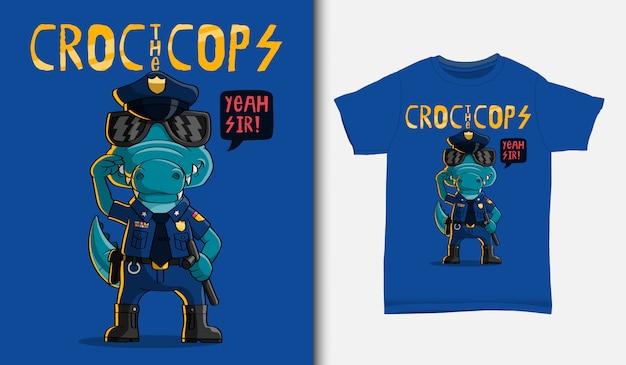 Krokodil de politieillustratie, met t-shirtontwerp, getrokken hand