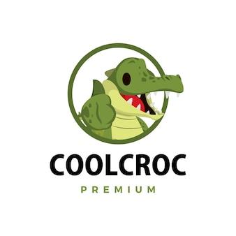 Krokodil duim omhoog mascotte karakter logo pictogram illustratie