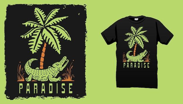 Krokodil en palmboom illustratie