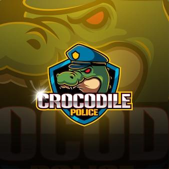 Krokodil esport mascotte logo ontwerp