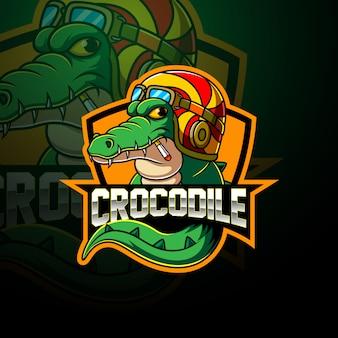 Krokodil esport mascotte logo