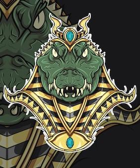 Krokodil god van egypte mythologie characterdesign Premium Vector