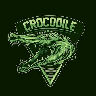 Krokodil hoofdembleem met tekst op donkere achtergrond