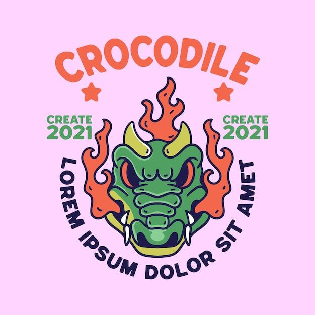 Krokodil illustratie vintage retro stijl voor shirts