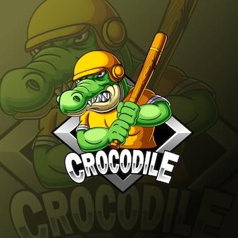 Krokodil in beslag positie honkbal mascotte e sport logo ontwerp