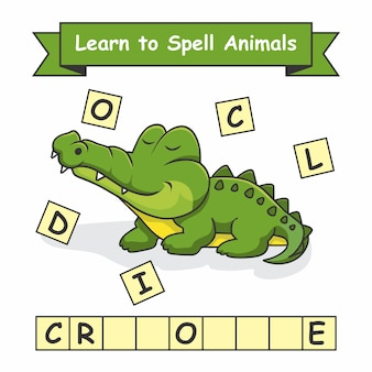 Krokodil leer dieren spellen