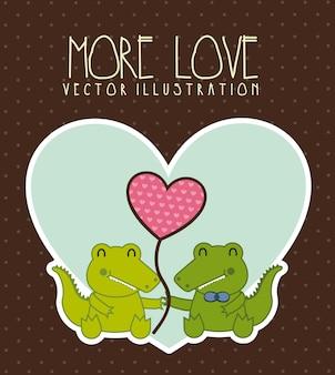 Krokodil liefde illustratie over bruine achtergrond vectorillustratie