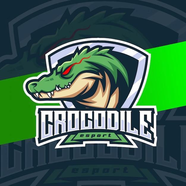 Krokodil mascotte esport logo ontwerp