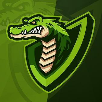 Krokodil mascotte esport logo