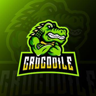 Krokodil mascotte logo esport gaming illustratie