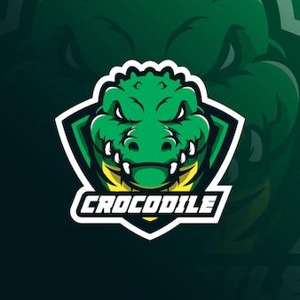 Krokodil mascotte logo ontwerp vector met moderne illustratie conceptstijl voor badge, embleem en t-shirt afdrukken.