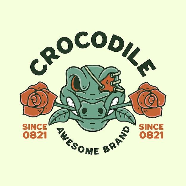 Krokodil met schedel illustratie retro-stijl voor t-shirtontwerp