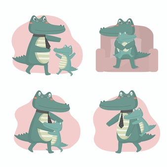 Krokodil papa is blij met zijn baby op vaderdag ze knuffelden en speelden vrolijk