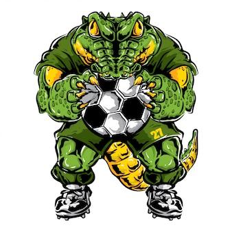 Krokodil voetbal mascotte