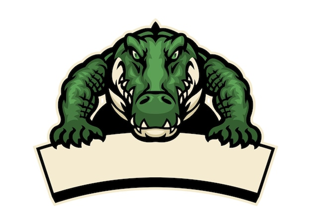Krokodilmascotte houdt de lege banner vast voor tekst