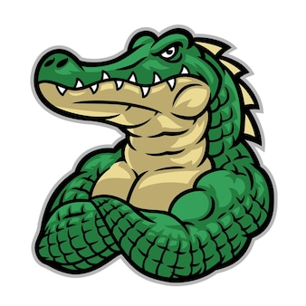 Krokodilmascotte met enorm spierlichaam