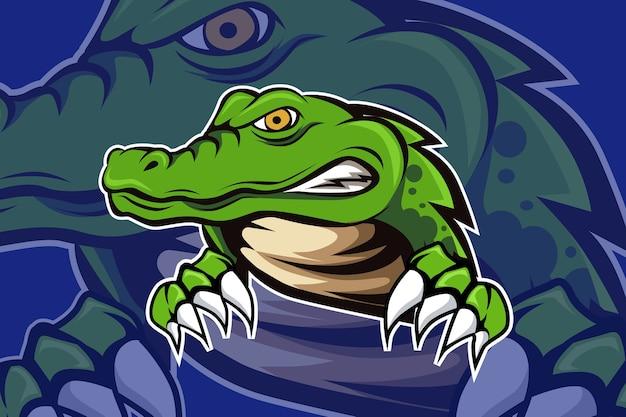 Krokodilmascotte voor sport en esports-logo geïsoleerd op donkere achtergrond