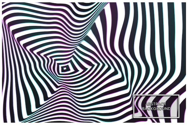 Kromgetrokken zwart-wit golvende lijnen abstracte achtergrond