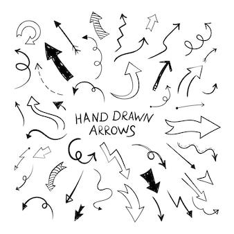 Kromme pijl pictogrammen instellen. vector zwarte directionele wijzers. platte hand getrokken doodle lijnstijl.