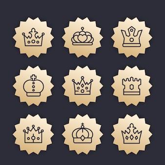 Kronen lijn pictogrammen