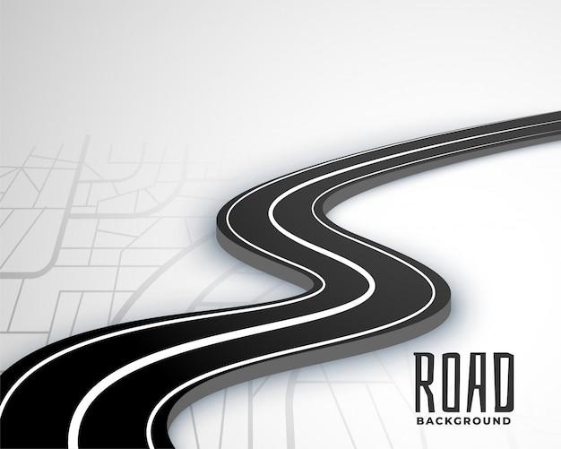 Kronkelende 3d-wegroute op kaartstijl