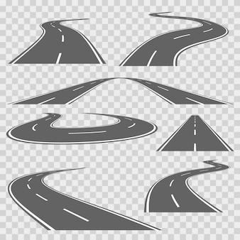 Kronkelende gebogen weg of snelweg met markeringen. richting weg, kromme weg, snelweg weg, wegvervoer illustratie. vector set