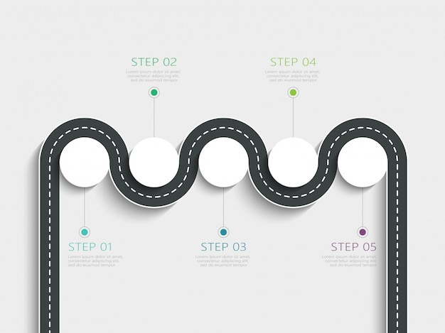 Kronkelende weg manier locatie infographic sjabloon met een gefaseerde structuur