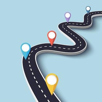 Kronkelende weg op blauw