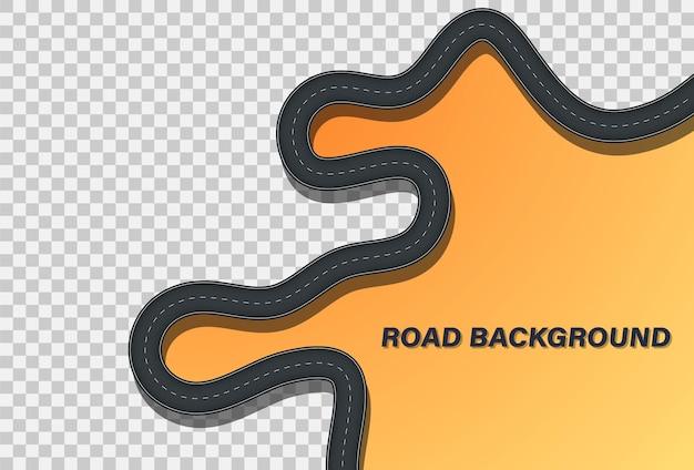Kronkelende weg op een achtergrond. gebogen weg met markeringen. locatie op de weg
