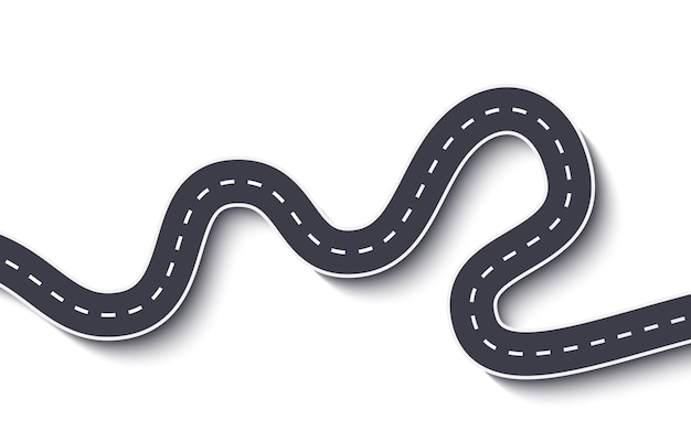 Kronkelende weg op wit