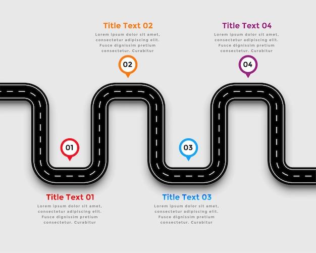 Kronkelende weg traject infographic sjabloonontwerp