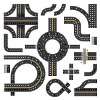 Kronkelende wegdelen in verschillende vormen en richtingen
