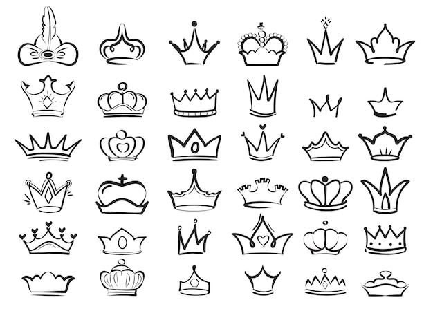 Kroon doodles. keizerlijke koning diadeem koninklijke symbolen majestueuze schets set. illustratie tekening kroon koning of koningin, majestueus monarch-symbool