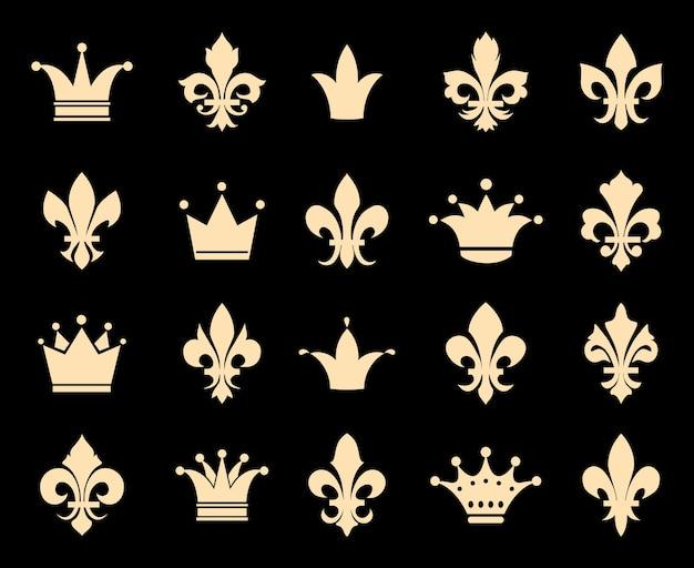 Kroon en fleur de lis pictogrammen. symboolinsignes, koninklijke antieke heraldische decoratie, vectorillustratie